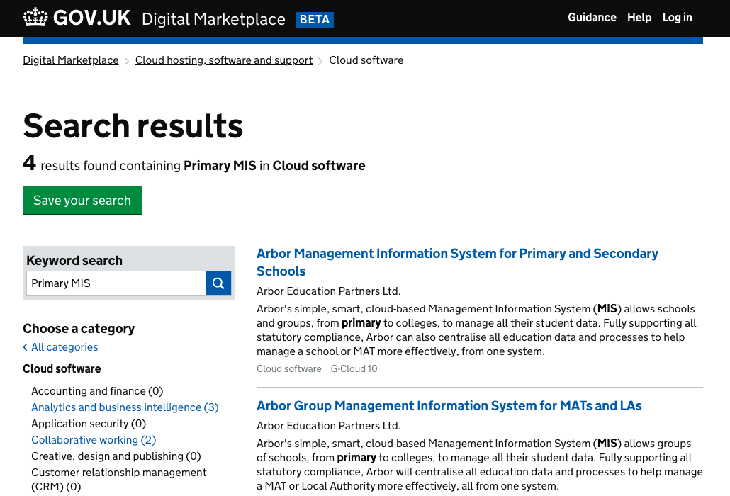 A search for Primary MIS in G-Cloud's Cloud Software framework